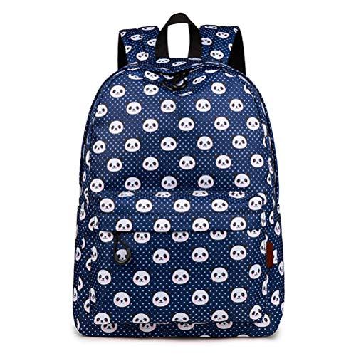 Fieans Cute Pandas Backpack Kids School Book Bag Polyester Waterproof Rucksack Laptop Book Bag for Girls Boys - Blue