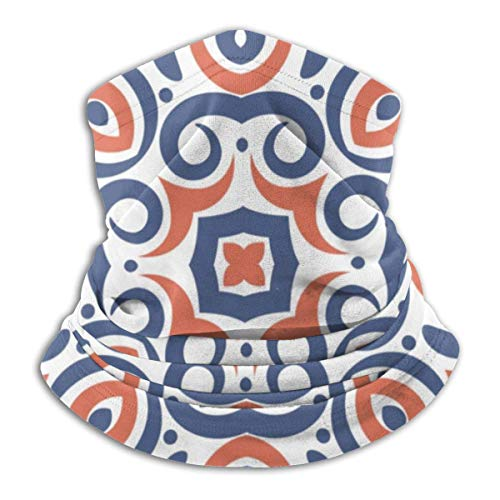 ASDAH comfortabele fleece nek warme bivakmuts met blauw en oranje patroon