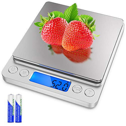 Powlaken Food Digital Kitchen Scale, Multifunction Scale Measures in Grams and oz for Cooking Baking, 1g/0.1oz Precise Graduation, Coffee Scales Grams Mutritional Calculator