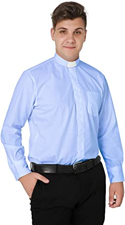 IvyRobes Camisa Cura de Clero de Manga Larga para Hombre Camisa Alzacuellos con Cuello de Lengüeta Ropa Sacerdote