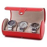 ADSE 3 Grids Watch Roll Box, Tragbare Armbanduhr aus PU-Leder, Schmuckgeschenk Aufbewahrungsvitrine (Farbe: C)