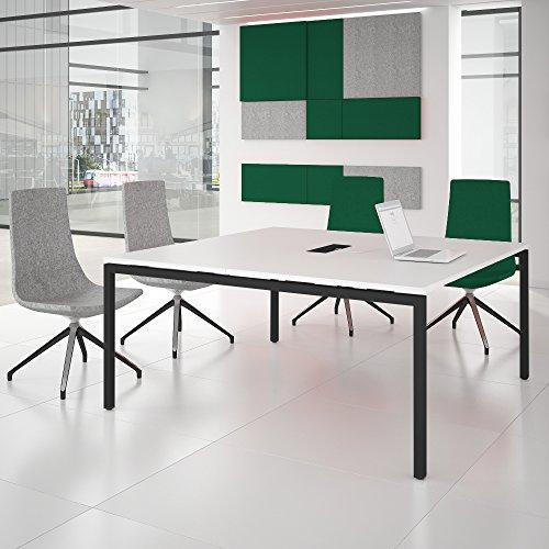 Weber Büroleben GmbH NOVA Konferenztisch 160x164cm Weiß mit ELEKTRIFIZIERUNG Besprechungstisch Tisch, Gestellfarbe:Anthrazit
