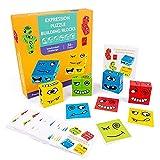 LEMORTH Magic Cube Face Pattern Building Blocks Juguetes, Empresiones de Madera Juguete, for niños Edades 3 4 5 años, 12 Piezas Madera Jigsaw y 50 Tarjetas Emoji Puzzles Juguetes educativos
