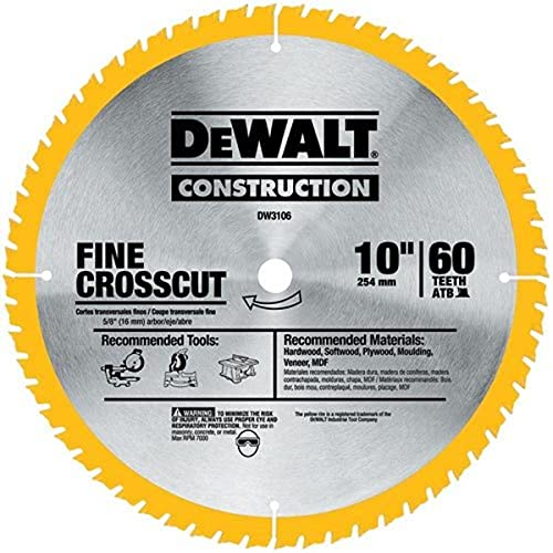 DEWALT 10-Inch Miter / Table Saw Blade, Fine Finish, 60-Tooth, 2-Pack (DW3106P5D60I)