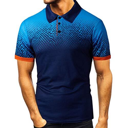 KI-8jcud Lapel T Shirt Fashion Blouse, Dress Shirts Short Sleeve Top Polo-Shirt Casual Shirts Slim Tees Navy
