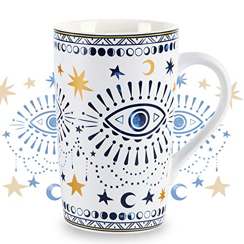 NymphFable Tazas Café De CeráMica 18oz Ojos Boho Personalizadas Taza con Tapa Taza Te Grandes Desayuno