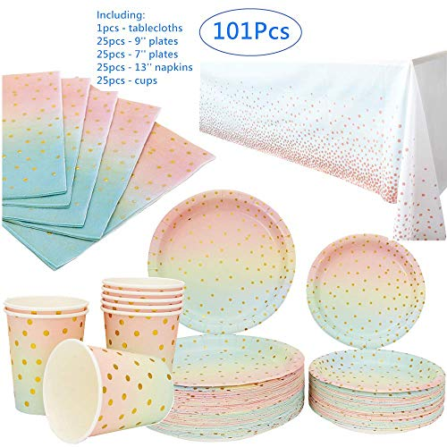 Buy Disposable Iridescent and Pastel Plates Napkins Cups Tableware for Weddings Anniversary Birthday...