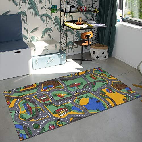 Carpet Studio Spielteppich Kinderzimmer 95x200cm, Straßenteppich für Junge und Mädchen, Rutschfester Rücken, praktische Reinigung, Spielfreundlich - Playtime