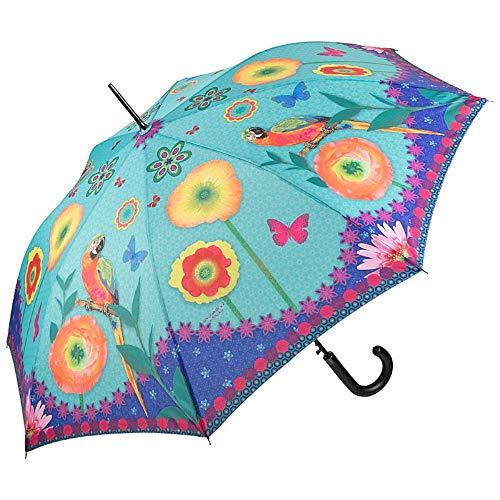 VON LILIENFELD Paraguas de Iluvia Largo Clásico Automático Grande Estable Arte Eva Maria Nitsche: Parrot in Paradise
