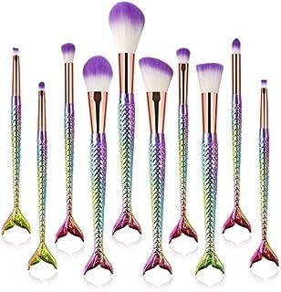 HMR Makeup Brush Set,10Pcs Premium Synthetic Professional Makeup Brushes Foundation Angled Coutour brush Concealer Shader Eyeshadow Face Brushes