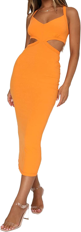 Sexy Back Crisscross Cutout Long Dresses for Women Y2k Fashion Rib Knit Bodycon Tank Maxi Dress High Split Club Sundress