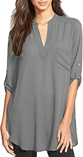OURS Womens Summer 3/4 Roll Up Sleeve Chiffon Blouse V Neck Work Shirts Tunic Tops Shirts