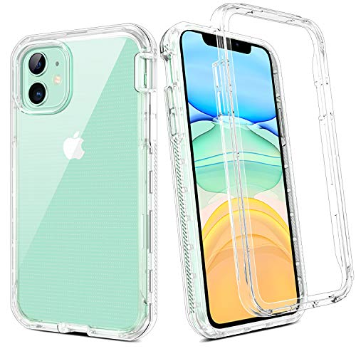 BENTOBEN iPhone 11 Case, Crystal Clear 3 in 1 Heavy Duty Shockproof Rugged Cases for iPhone 11 6.1 inch, Clear