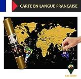 Global Walkabout française–Carte à gratter avec des Drapeaux en arrière-Plan–Affiche...