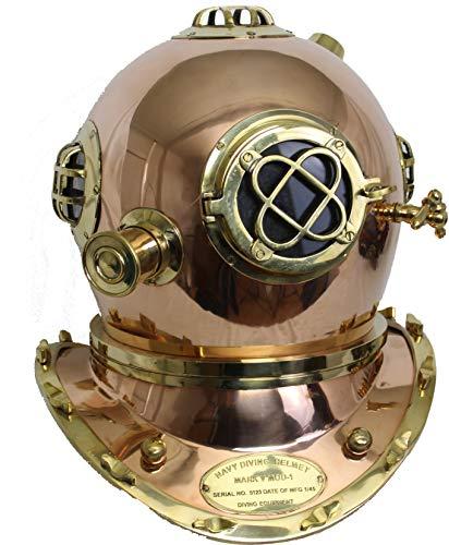 Taucherhelm Deko antik Reproduktion Mark V Kupfer Messing 47 cm Geschenk für Taucher
