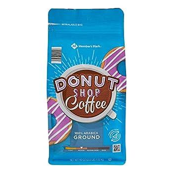 Member s Mark Donut Shop Ground Coffee Medium-Roast Arabica 40 Ounce - PACK OF 2