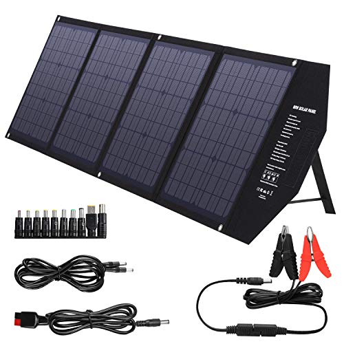 SUAOKI Foldable 80W Solar Panel Charger Compatible with Jackery/Goal Zero Yeti/Webetop/FlashFish/ROCKPALS Power Station with Quick Charge 3.0, 45W Power Delivery USB C for Home Camping