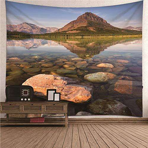 KnSam Tapiz De Pared con Reflexión de River Hill, Poliéster Tapices de Pared Patrón de impresión 3D para la Playa, como Sábana, Mantel de Mesa, Toalla de Playa, Lavable (Marrón, 210x140CM