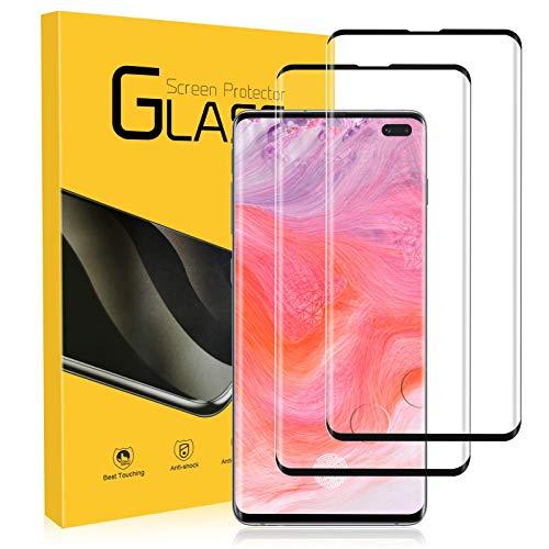 NONZERS Cristal Templado para Samsung Galaxy S10 Plus, [2 Unidades] 3D Cobertura Completa 9H Dureza Vidrio Templado, Compatible con sensor de huellas dactilare, Protector de Pantalla para Samsung S10+