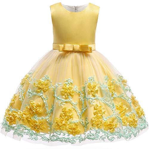 Vestidos con Encaje sin Mangas Un Vestido de Novia para la Fiesta de cumpleaños de una niña Ropa en Verano 3-10 años