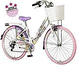 breluxx® 28 Zoll Damenfahrrad Venera Fashion Holi Color Citybike mit Korb + Licht Retro Damenrad, 6 Gang Shimano, rosa Reifen