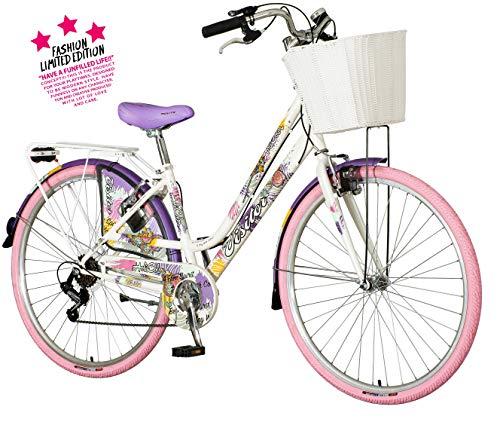 breluxx® 28 Zoll Damenfahrrad Venera Fashion Holi Color Citybike mit Korb + Licht Retro Damenrad, 6 Gang Shimano, rosa Reifen, Modell 2020