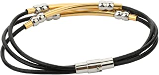 Joyevic Charm Braided Bracelet Genuine Cowhide Leather Wristband for Unisex Women Men Beads Gift