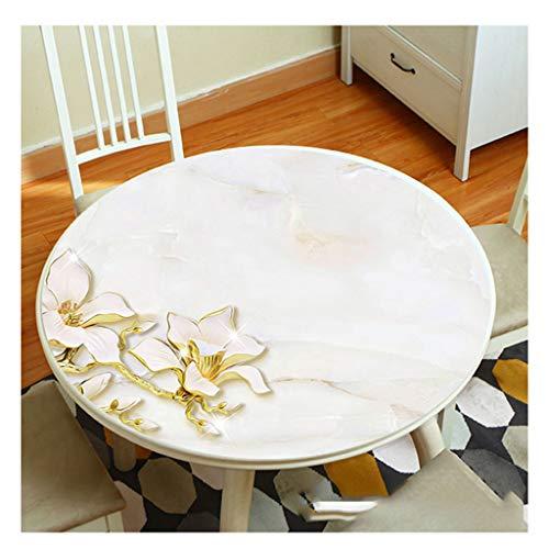 &Nappes Nappe ronde en PVC - Nappe ronde transparente en verre souple et imperméable nappe de table (Couleur : D, taille : Round-120cm)