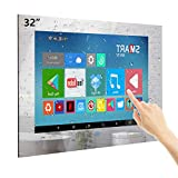 Haocrown 32-inch Touch Screen Smart Bathroom Mirror TV with IP66 Waterproof Full-HD Android 9.0 Television Built-in Integrated HDTV(ATSC) Tuner, Wi-Fi,Bluetooth,Waterproof Speakers(2021 Model)