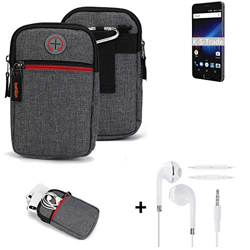 K-S-Trade Gürtel-Tasche + Kopfhörer Für Phicomm Passion 4 Handy-Tasche Holster Schutz-hülle Grau Zusatzfächer 1x