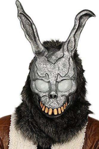 Xcoser The Bunny Maske Grau Latex Obenliegend mit Fur Hase Helm Cosplay Kostüm Zubehör für Erwachsene Halloween Kleidung Replik