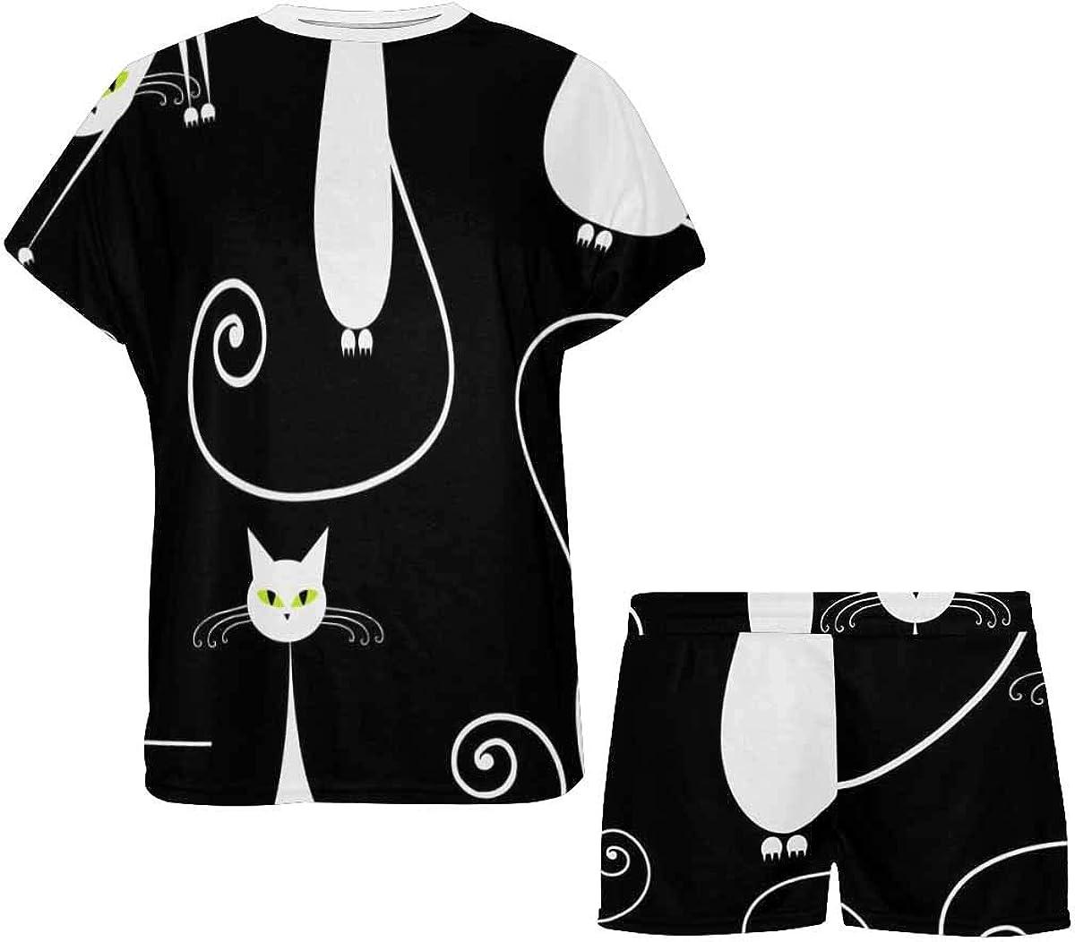 INTERESTPRINT White Cats Women's Pajamas Short Sets Round Neck Short Sleeve Sleepwear