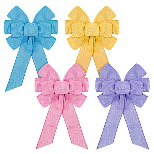 Whaline 4pcs Spring Wreath Bow Large Spring Colorful Wreath Bow Decoration Wreath Ribbon Bows Pink Purple Yellow Blue Tree Bows Decorative Burlap Bows Decorations Ornaments for Spring Party