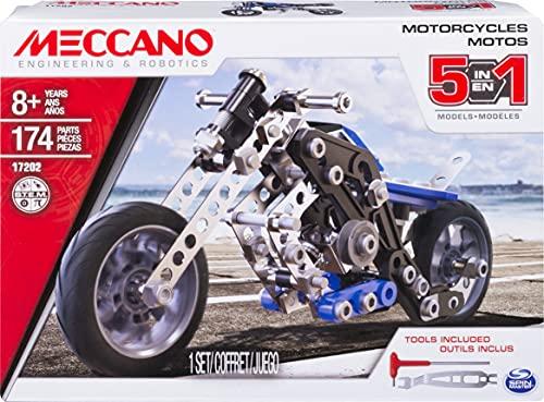 MECCANO - MOTO 5 MODÈLES - Coffret Inventions Avec 174 Pièces Et 2 Outils - Jeu de Construction - 6036044 - Jouet Enfant 8 Ans et +