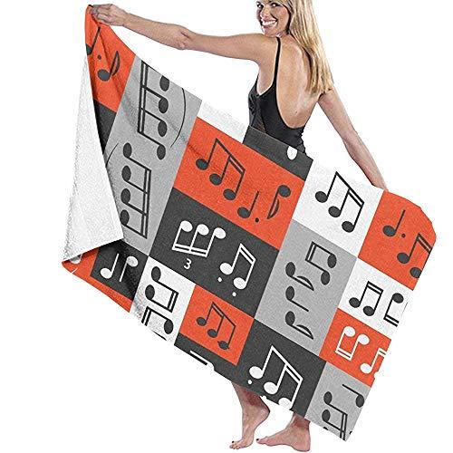 Serviettes de Bain Extra Large Drap de Bain pour hôtel Spa Yoga Plage Sports Surf - Conception Graphique de Notes de Musique