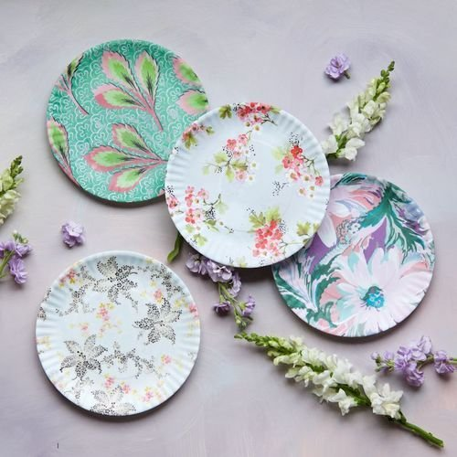 Paris Flea Market Fabrics 9' Melamine Plates - Set of Four