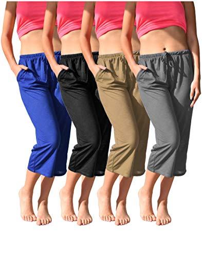 Women's 4 Pack Casual Active Relaxed Flowy Fit Capri Semi Sheer Cropped Bermuda Short Pants (4 Pack -Black/Royal/Grey/Khaki, Small)