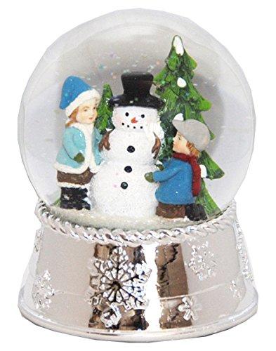 Minium Collection 20076 Schneekugel Schneemann mit geprägtem Silber-Sockel groß mit Spieluhr