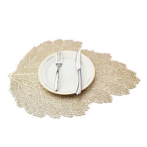 MANGATA Sets de Table Doré PVC Antidérapant Lavable Résiste à la Chaleur Vinyle Set de Table pour Restaurant, Table à Manger en Cuisine ou Salle à Manger (36X47 CM, Lot DE 8)