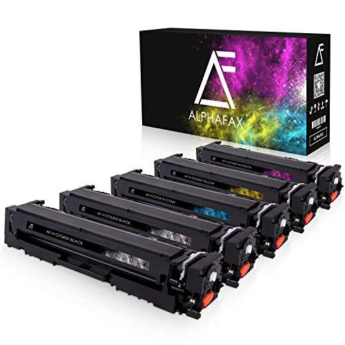 5 Alphafax Toner kompatibel mit HP CF540X CF541X CF542X CF543X für Color Laserjet Pro M-280nw M-281fdn M-281fdw M254nw M254dw - 203X