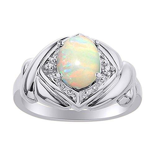 Juego de anillos de ópalo y diamante en plata de ley – XO Hugs & Kisses – Anillo de piedra de nacimiento de color