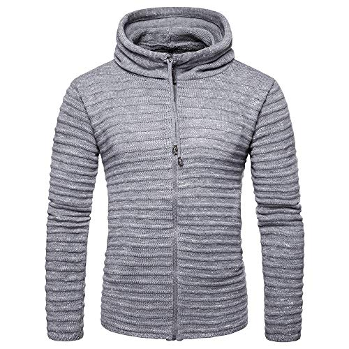 Chunmei Men's Pullover Hoodie Knitted Sweater Slim fit Long Sleeve Sweater Sweatshirt Pullover Men Autumn Winter New Hooded Sports top with Drawstring Fashion Warm Breathable top XXL
