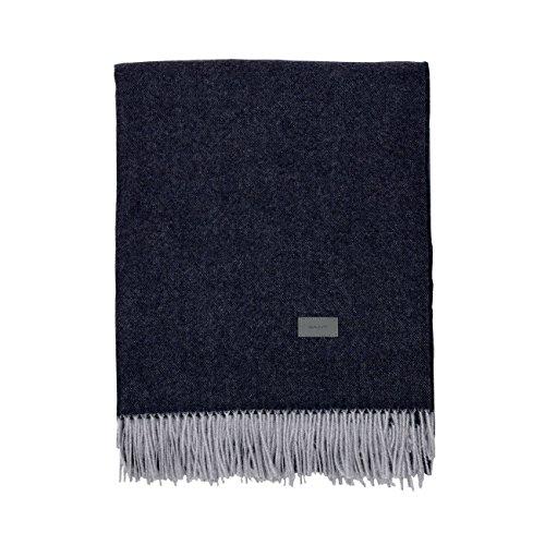 GANT Cashmere Blend Wohndecke mit Fransen 130x180 Sateen Blue
