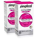 Simplicol Kit de Tinte Textile Dye Intensive Rosa: Colorante para Teñir Ropa, Tejidos y Telas Lavadora, Contiene Fijador para Colorante Líquido, Anti Alérgeno, No Destiñe, Seguro para su Lavadora