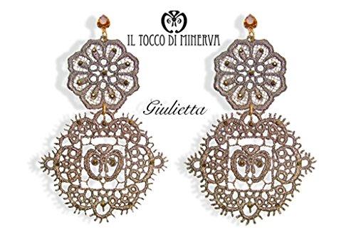 Spitzenohrringe Swarovski bronze lamè Giulietta Handgefertigt Made in ItalyMade in Italy- handgemacht - Mädchen Geschenk Mädchen - Geschenke für sie - Weihnachten