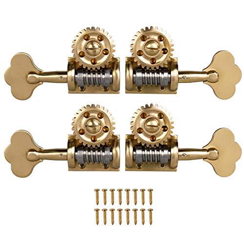 Nukcc Clavijas De Afinador De Contrabajo,4 piezas estilo alemán contrabajo clavijas de afinación única cabezales de máquina de afinación 2 izquierda 2 derecha para 4/4 3/4 contrabajo