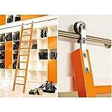 Herraje para Puerta Corredera Kit Biblioteca de la escalera deslizante de 100-600 cm Liquidación completa Pista de rodadura de hardware (sin escalera), tubo redondo de acero inoxidable Pista de la esc