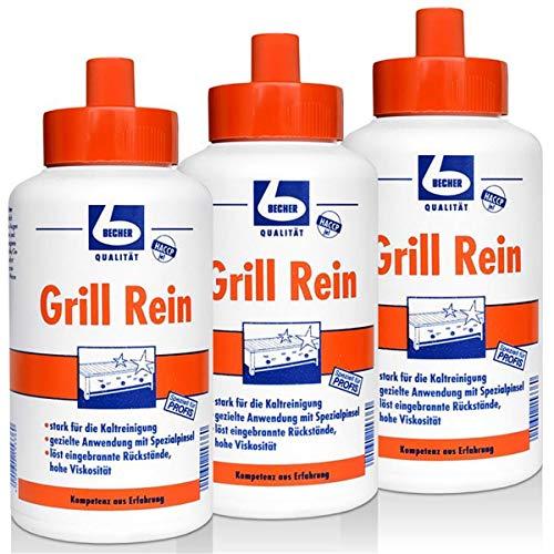 3x Dr. Becher Grill Rein für Grills, Fritteusen / 1 Liter
