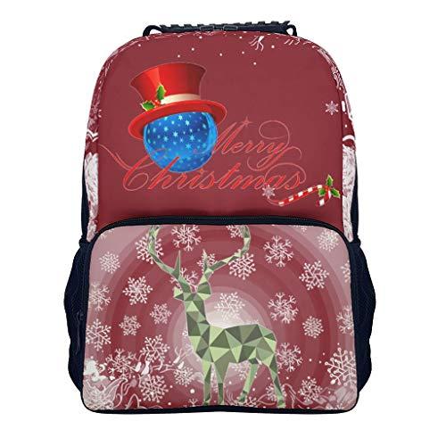 XHJQ88 Kleine Kinderen Mini Leuke Rugzak Vrolijk Kerstmis Stijlvolle Retro Lichtgewicht Satchel - Hoed Bal Gedrukt voor Nieuwjaar Gift