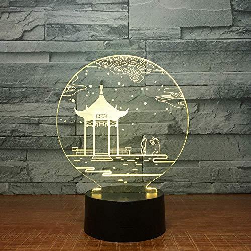 Antico Gazebo 3D Night Light Led 7 Colori Che Cambiano Touch Lampada Da Tavolo Natale San Valentino Regali Di Compleanno Decorazioni Per Ufficio A Casa Lampada , Giocattoli Per Bambini